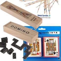 Spilpakke. 3 billige spil: Mikado, Domino og 2 pakker kort