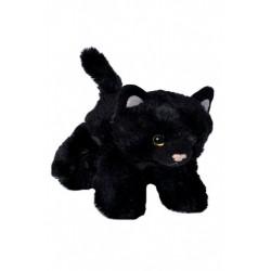 Kat, sort, liggende, beanbag, 18 cm