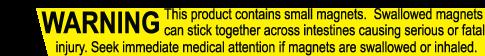 Advarsel. Magneter kan være farlige. Ikke egnet til personer under 14 år