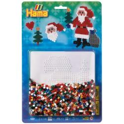Julemand med sæk, juletræ og hjerte, julepynt med perler, 1100 HAMA midi perler