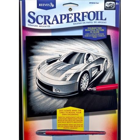 Bil, sølvfarvet kradsfolie/skrabefolie, PPFS44
