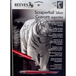 Hvid tiger, sølvfarvet kradsfolie/skrabefolie, PPFS40