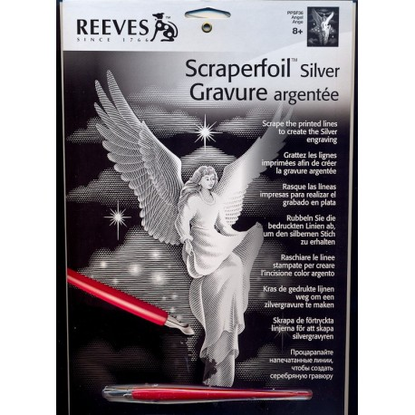 Engel, sølvfarvet kradsfolie/skrabefolie, PPFS36