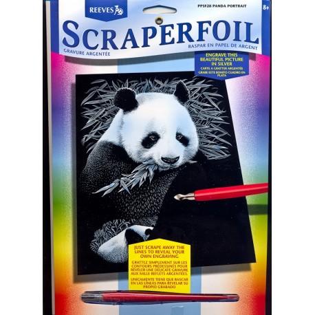 Panda, sølvfarvet kradsfolie/skrabefolie, PPFS28