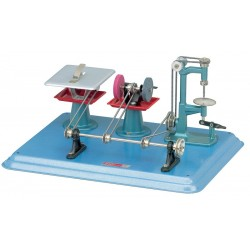 Maskinplade med slibesten, boremaskine og rundsav til dampmaskine