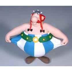 Obelix hiver ud i bukserne, flot, dekoreret figur fra Asterix, samlerobjekt