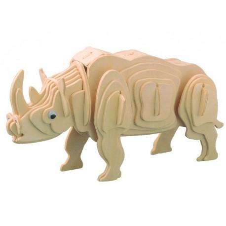 Næsehorn (hvidt næsehorn), 3D-puslespil i træ
