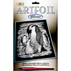 Pingvin med unge, sølvfarvet kradsfolie/skrabefolie, KSG0609