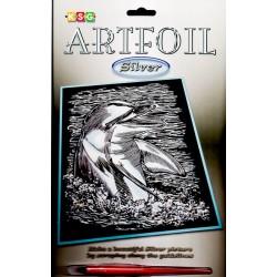 Delfin kommer op af vandet, sølvfarvet kradsfolie/skrabefolie, KSG0608