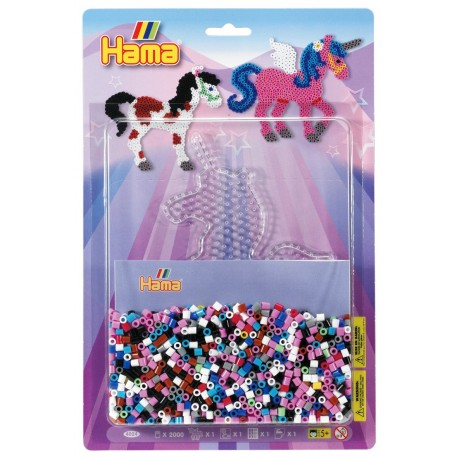 Fantasihest, enhjørning, 2000 HAMA midi perler