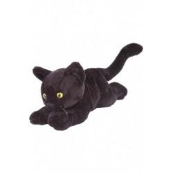 Kat, sort korthår, liggende, beanbag, 18 cm