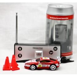 Rød dåsebil. 27 MHz. Lille fjernstyret bil i dåse. Kører godt.