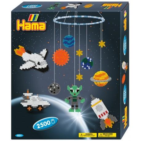 Rumskib, rumvæsen, planeter og stjerner, uro, 2500 HAMA midi perler