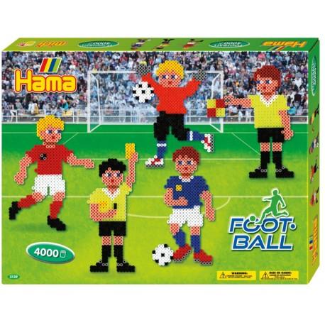 Fodbold. Æske med fodboldspillere. 4000 HAMA midi perler