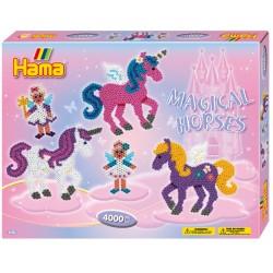 Magiske heste. Æske med magiske heste og feer. 4000 HAMA midi perler