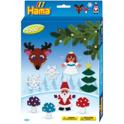 Juletræspynt. Engel, julemand, rensdyr, 2000 HAMA midi perler