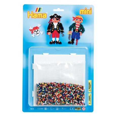 Pirater, to pirater med træben og øjeklap - HAMA Mini perler