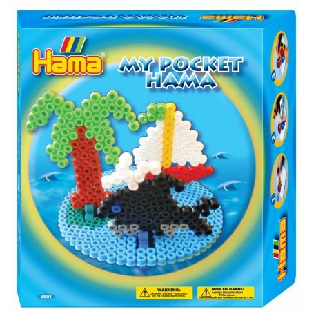 Hav. Båd, øde ø og hval. My Pocket Hama. 1000 perler