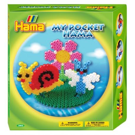 Haven. Snegl, blomst og sommerfugl. My Pocket Hama. 1000 perler