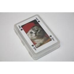 Kortspil med dyremotiver. Almindelige spillekort med 3 jokere.