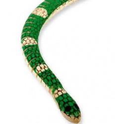 Slange, træ, bøjelig. Smaragdboa. 50 cm