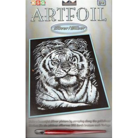 Tiger, sølvfarvet kradsfolie/skrabefolie, KSG1017