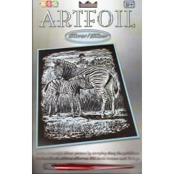 Zebra med unge, sølvfarvet kradsfolie/skrabefolie, KSG1018