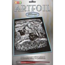 Lam og hyrdehund, sølvfarvet kradsfolie/skrabefolie, KSG0606