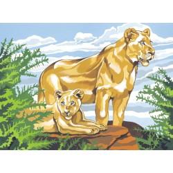 Mal efter tal (Senior), Løve med unge. Reeves PL90