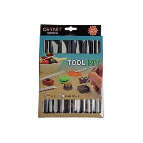 Værktøjssæt i plast til Cernit. 8 dele med 16 funktioner.