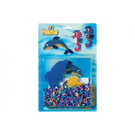 Delfin og søhest, 1100 HAMA midi perler