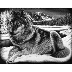Ulv i sne, sølvfarvet kradsfolie/skrabefolie, PPSF58