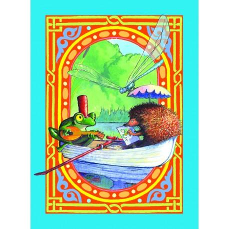 Spillekort med frø og pindsvin i en robåd, 52 kort, 2 jokere. eeBoo