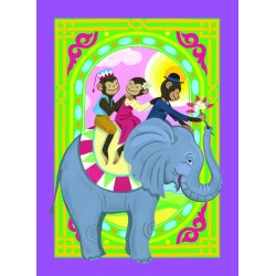 Spillekort med aber, der rider en elefant, 52 kort, 2 jokere. eeBoo