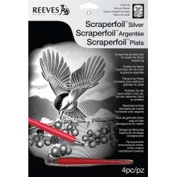 Fugl med bær, sølvfarvet kradsfolie/skrabefolie, PPSF100