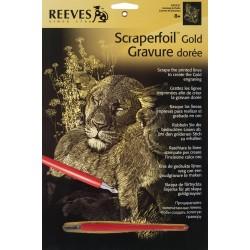 Løve med unge, guldfarvet kradsfolie/skrabefolie, PPCF27