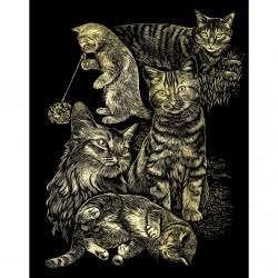 Katte-collage, guldfarvet kradsfolie/skrabefolie, PPCF18