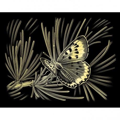 Sommerfugl, guldfarvet kradsfolie/skrabefolie, PPCF43