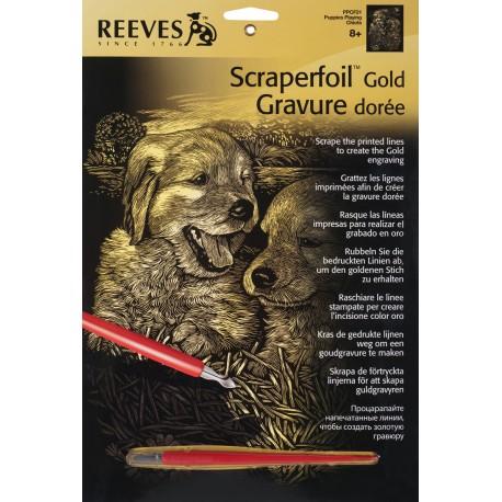 Hundehvalpe, guldfarvet kradsfolie/skrabefolie, PPCF21