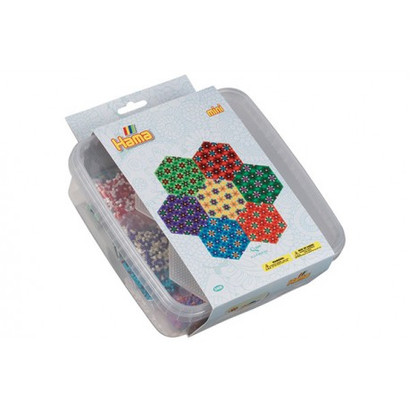 Blomstermønstre. Sekskantet. Pakke med 10500 miniperler og perleplader