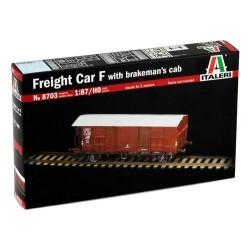 Lukket godsvogn med bremsehus, F. Togvogn, byggesæt. H0. 1:87. Italeri 8703