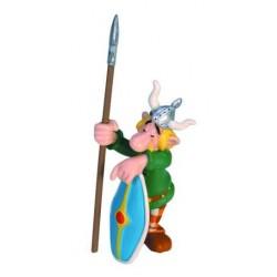 Sovende gallisk portvagt med skjold og lanse, flot, dekorereret figur fra Asterix, samlerobjekt