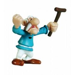 Senilix med løftede hænder og stok, flot, dekorereret figur fra Asterix, samlerobjekt