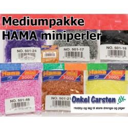 Mediumpakke HAMA miniperler. 50 poser med perler i alle farver.