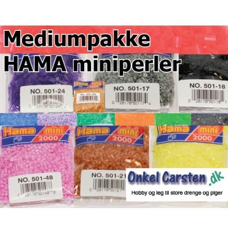 Mediumpakke HAMA miniperler. 49 poser med perler i alle farver.