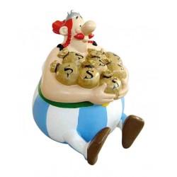 Sparebøsse: Obelix med pengesække. 18 cm høj.