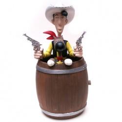Sparebøsse: Lucky Luke i tønde med Ratata, 20 cm høj