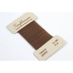 Smykkesnøre, mørkebrun, 10 m, 0,5 mm, stærk stofsnøre til smykker