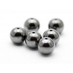 10 mm hæmatit (blodsten), stenperler, 6 stk
