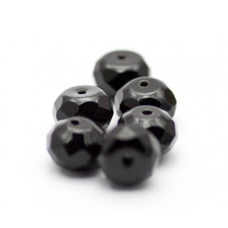 5x8 mm onyx, rondel, facet, stenperler, 6 stk